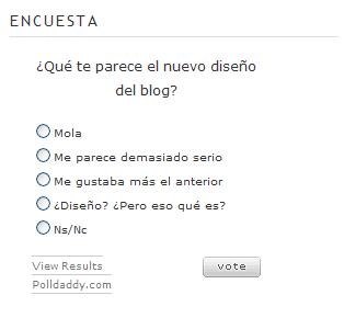 Encuesta sobre el diseño del blog