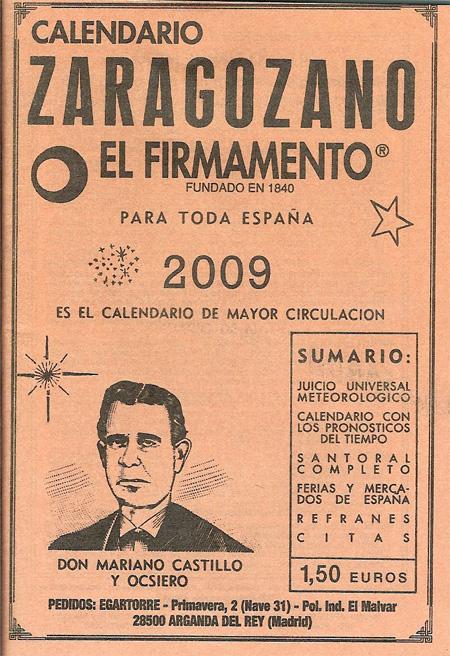 """Calendario zaragozano """"El Firmamento""""."""