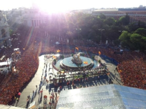Celebración en la plaza de Cibeles