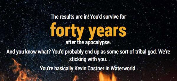 Resultado del test «¿Cuánto tiempo sobrevivirías tras un evento apocalíptico?»
